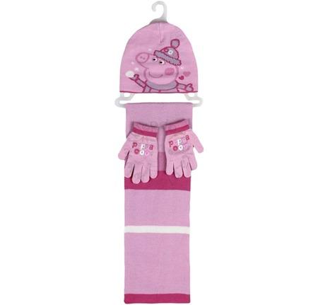 Komplet zimowy dla dzieci - czapka, szalik i rękawiczki Peppa Pig - Świnka Peppa