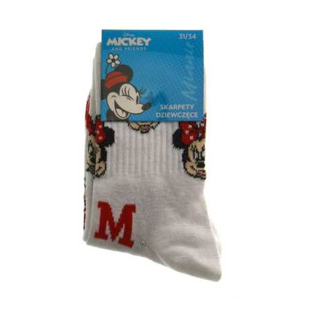 Skarpetki młodzieżowe białe Myszka Minnie